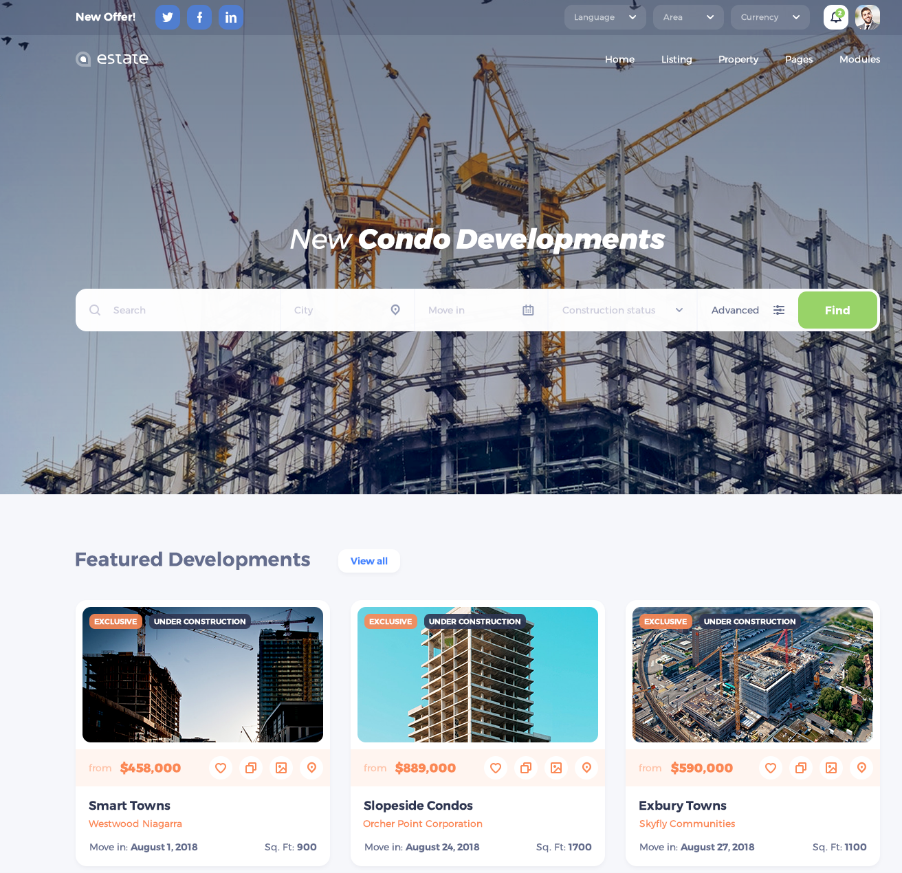 condo developments wordpress theme