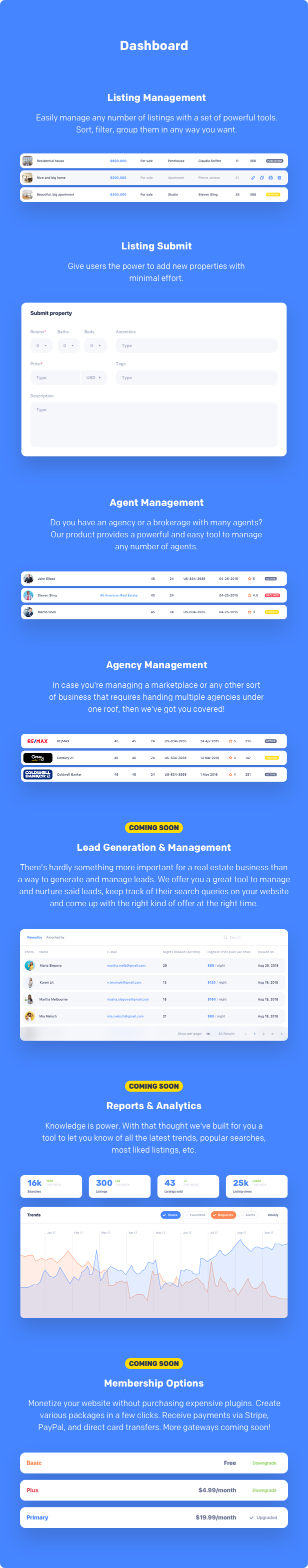 real estate CRM, Lead capture, Membership, Reports, Analytics